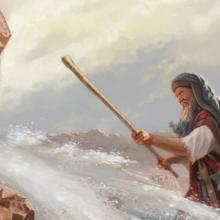 Moses strikes rock